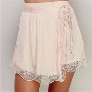 Free People Wrap Tie Lace Skirt Blush